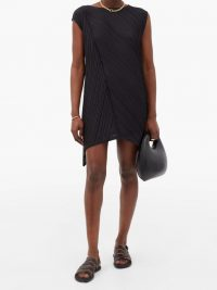 PLEATS PLEASE ISSEY MIYAKE Diagonal-crease technical-pleated mini dress ~ lightweight dresses