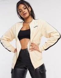 Diesel zip up lounge top co ord in cream / logo loungewear co-ords