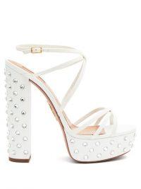 70s inspired shoes – AQUAZZURA Disco crystal-embellished leather platform sandals – white studded platforms