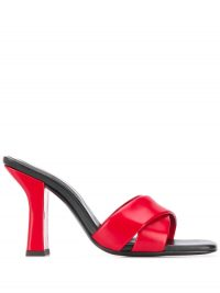 Dorateymur Retox block heel sandals / red and black angled heel sandal
