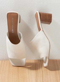 MINT VELVET Dotty Off-White Leather Mules | block heel mule