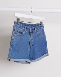 Dr Denim Jenn roll hem short in mid wash blue in retro sky blue   high waist shorts