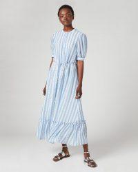 JIGSAW DRAWSTRING TEXTURED MAXI DRESS / frill hem dresses