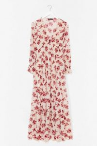 NASTY GAL Drop It Meadow Floral Maxi Dress – nude printed dresses