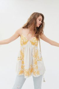 UO Tori Embroidered Babydoll Top / boho cami tops