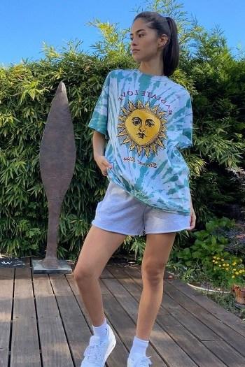 UO Radiate Tie-Dye Dad T-Shirt / sun print tee - flipped