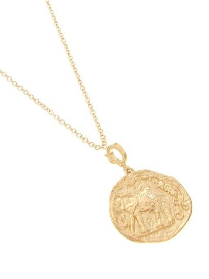 AZLEE Elefante diamond & 18kt gold necklace ~ round pendants ~ ancient look coin pendant necklaces - flipped