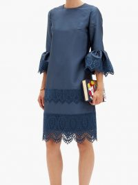 ERDEM Elijah guipure lace-trimmed fluted-sleeve dress – blue scalloped hem event dresses