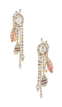 Elizabeth Cole Maude Earrings / shell and crystal drops