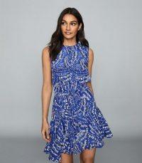 REISS ELSIE PRINTED MINI DRESS BLUE ~ side draped dresses