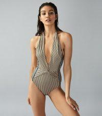 REISS EMANUELLA TWIST DETAIL HALTERNECK SWIMSUIT MULTI ~ plunging swimsuits