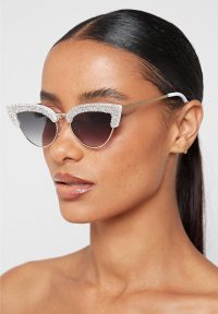 Manière De Voir EMBELLISHED CAT EYE SUNGLASSES – WHITE | retro glamour | glamorous eyewear