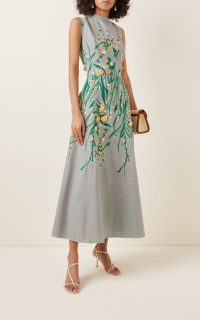 Lela Rose Embroidered Gingham Maxi Dress / floral embroidery