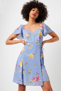 FRENCH CONNECTION EME CREPE FAUX WRAP DRESS in BELLA BLUE MULTI