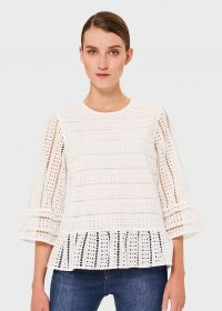 HOBBS EMELIE COTTON EMBROIDERED TOP ~ ivory semi sheer tops