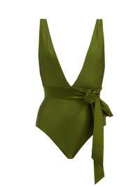 ZIMMERMANN Empire plunge-neck bow-waist swimsuit | deep plunging swimsuits | green swimwear