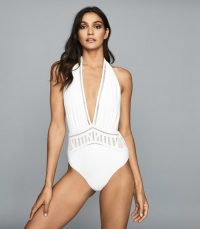 REISS ETIENNE BRODERIE DETAIL SWIMSUIT WHITE ~ deep V plunge swimsuits