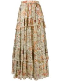 Etro layered paisley-print maxi skirt – long tiered skirts