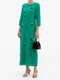 ERDEM Evanna green floral beaded silk crepe midi dress – fluid dresses