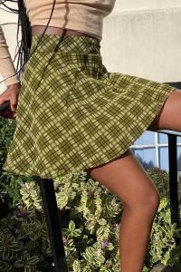 UO Isla Check Circle Mini Skirt Green
