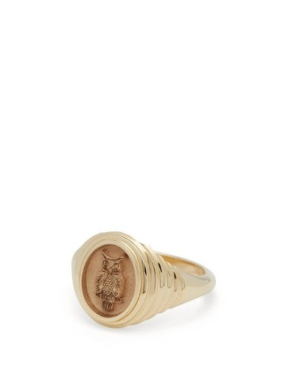 RETROUVAI Fantasy Owl 14kt gold signet ring / owls