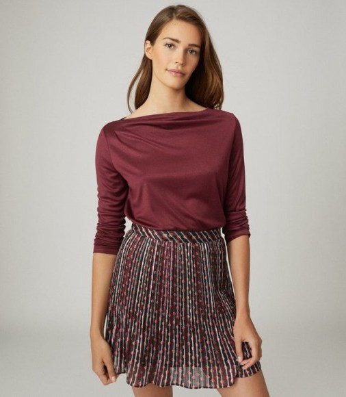 REISS FAYE STRAIGHT NECK TOP BERRY / essential long sleeve tops - flipped