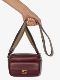 Fendi Burgundy Red Baguette Leather Camera Bag / designer crossbody