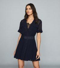 REISS FIONA LACE TRIM UTILITY DRESS NAVY ~ dark blue summer dresses