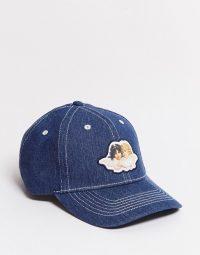 Fiorucci denim cap with angels patch in blue   hats & caps
