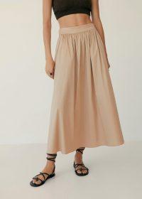 MANGO ELNA Flared long skirt beige | efforless summer style