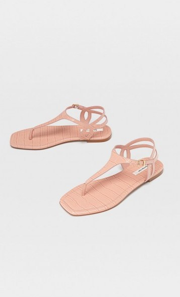 stradivarius Flat sandals with embossed detail pink - flipped
