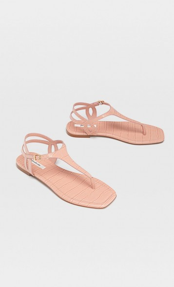 stradivarius Flat sandals with embossed detail pink