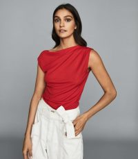 REISS FLAVIA JERSEY HIGH NECK TOP RED / chic tops