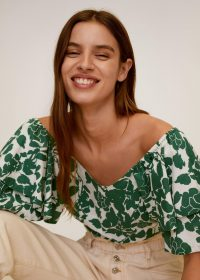MANGO GLORIA Floral off-shoulder blouse | tiered green bardot top