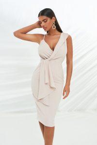 LAVISH ALICE folded lapel wrap midi dress with drape panel in stone – plunge front evening dresses