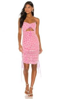 For Love & Lemons Lusk Midi Dress Pink Velvet – cut out dresses