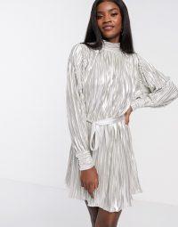 Forever U metallic pleated mini dress in champagne / long sleeve high neck dresses