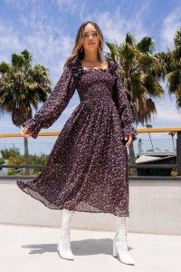 NASTY GAL Forget What You Shirred Floral Midi Dress / floaty summer dresses