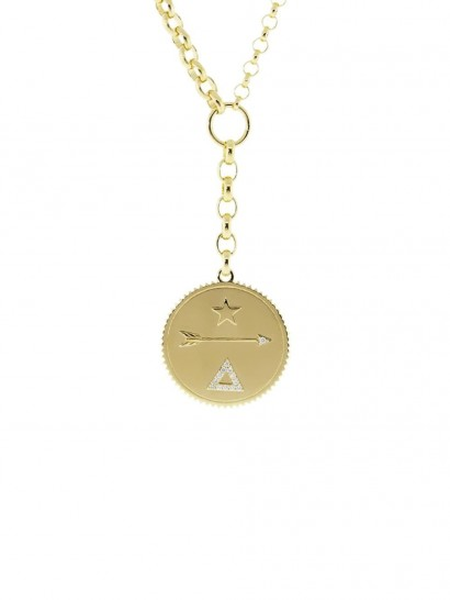 FOUNDRAE 18kt yellow gold large Dream diamond medallion belcher necklace
