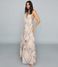 REISS FREDDIE PRINTED MAXI DRESS PALE NUDE / summer evening dresses