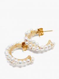COMPLETEDWORKS Freshwater pearl & 14kt gold-vermeil hoop earrings ~ feminine hoops