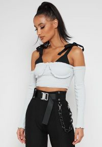 Manière De Voir FRILLED LONG SLEEVE CROP TOP – GREY