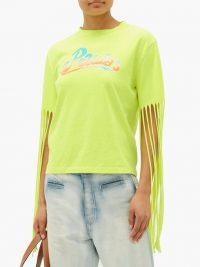 LOEWE PAULA'S IBIZA Fringed logo-print jersey T-shirt in neon-yellow / bright boho tee
