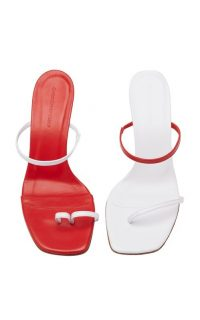 Christopher Esber Fuyao Mismatched Leather Sandals in red and white