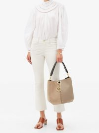 SEE BY CHLOÉ Gaia medium suede and grained-leather tote bag in taupe-grey