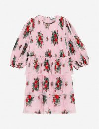 GANNI Floral-print recycled-polyester georgette mini dress ~ pink tiered dresses