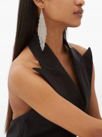 SAINT LAURENT Geometric crystal-mesh earrings ~ geo shapes ~ glamour