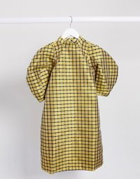 Ghospell mini dress with puff sleeves in yellow black check