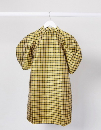 Ghospell mini dress with puff sleeves in yellow black check - flipped