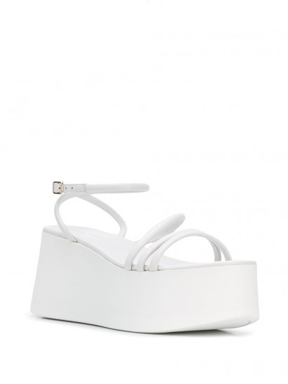 GIANVITO ROSSI Bekah wedge sandals / chunky heeled white leather sandal